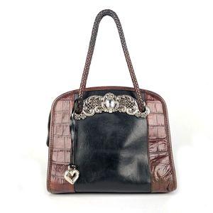 BRIGHTON 2 Tone Leather Croc Embossed Satchel Bag